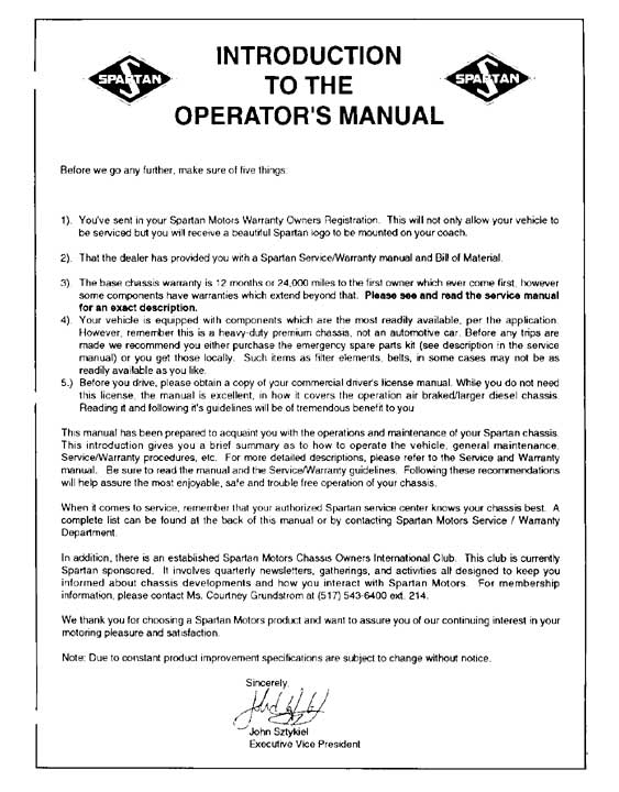 Spartan Chassis Service Manual